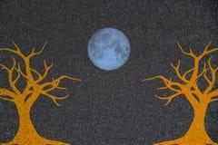 Abstracte Dalingsachtergrondafbeelding van Bomen met Blue Moon stock afbeelding