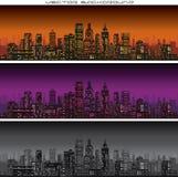 Abstracte de Bannersvector van de Stadshorizon Stock Afbeeldingen