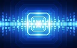 Abstracte de bewerker van de achtergrond technologiespaander kringsraad en HTML-code, 3D van de illustratie blauwe technologie ve Stock Fotografie