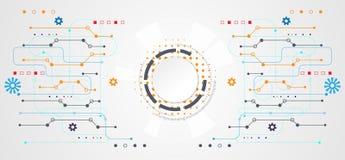 Abstracte de cirkel witte digitaal van het technologieconcept op hallo technologie-whit Royalty-vrije Stock Foto's