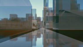 Abstracte de gebouwenstraat van de binnenstad van de stadsspiegel vector illustratie