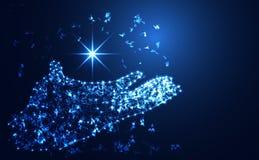 Abstracte de hand digitale verbinding van het technologieconcept op hallo technologie-backgro stock foto