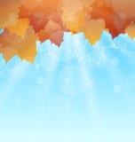 Abstracte de herfstachtergrond met bladeren Royalty-vrije Stock Afbeeldingen