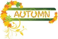 Abstracte de herfstbanner met esdoornbladeren Stock Afbeelding