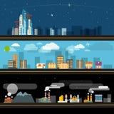 Abstracte de illustratiereeks van de stadskaart Royalty-vrije Stock Afbeeldingen