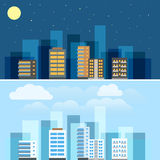 Abstracte de illustratiereeks van stadsgebouwen Royalty-vrije Stock Foto