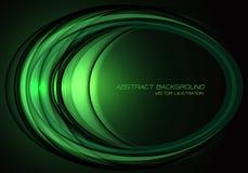 Abstracte de krommeoverlapping van de groen lichtellips op zwarte de technologie van de ontwerp moderne luxe futuristische vector stock illustratie