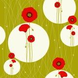 Abstracte de lente rode papaver op naadloos patroon Stock Afbeelding