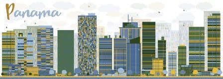 Abstracte de Stadshorizon van Panama met kleurenwolkenkrabbers Stock Afbeelding