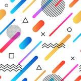 Abstracte de stijl retro naadloze achtergrond van Memphis met multicolored eenvoudige geometrische vormen Patroon met driehoeken Stock Foto