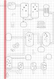 Abstracte de tekeningsstudent van het flessen chemische diagram stock foto