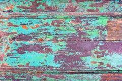 Abstracte de textuurachtergrond van grunge houten planken met gepelde blauwe verf stock afbeelding