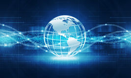 Abstracte de verbindingsachtergrond van Internet van de boltechnologie Royalty-vrije Stock Afbeelding