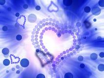 Abstracte de vierings blauwe achtergrond van valentijnskaart toenemende harten Stock Afbeelding