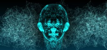 Abstracte de Vlechtachtergrond van Mesh Of Human Head On van de Netwerkverbinding Royalty-vrije Stock Fotografie