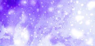 Abstracte de winter blauwe achtergrond met sneeuwvlokken Stock Afbeeldingen