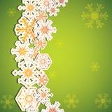 Abstracte de winter groene sneeuwvlokken Stock Afbeeldingen