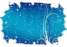 Abstracte de winter grunge achtergrond met vlokken en rollen royalty-vrije illustratie