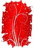 Abstracte de winter grunge achtergrond met vlokken en rollen in rood Stock Foto's