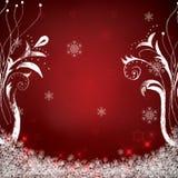 Abstracte de winter rode sneeuwvlokken Stock Afbeelding