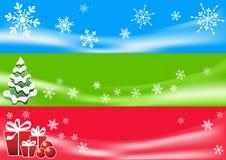 Abstracte de winterachtergrond. Drie banners. Royalty-vrije Stock Fotografie