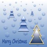 Abstracte de winterachtergrond - Kerstmisboom, sneeuwvlokken Stock Fotografie