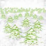 Abstracte de winterachtergrond met bomen en sneeuwvlokken Stock Afbeelding