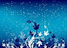 Abstracte de winterachtergrond met vlokken en bloemen in blauwe kleur Royalty-vrije Stock Afbeeldingen