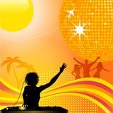 Abstracte de zomerachtergrond met de bal van DJ en van de disco Royalty-vrije Stock Afbeeldingen