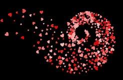 Abstracte decoratiedraaikolk van harten stock illustratie