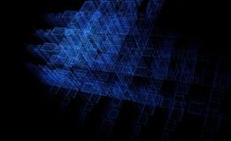 Abstracte deeltjesachtergrond, de stad van hemelfi, het 3D teruggeven, technologie achtergrondblauw stock illustratie