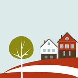 Abstracte Deense Vlag met Kleurrijke Huizen en Boom Stock Afbeelding
