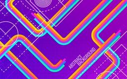 Abstracte diagonale achtergrond Heldere stroken met geometrische vormen en witte lijnen In ontwerp met kleurenelementen royalty-vrije stock afbeeldingen