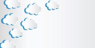Abstracte die achtergrond uit Witboekwolken wordt samengesteld over blauw vector illustratie