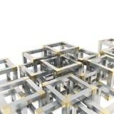 Abstracte die achtergrond van kubusfragmenten wordt gemaakt Royalty-vrije Stock Foto's