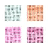 Abstracte die achtergrond in vier kleuren wordt geplaatst Groene, roze, oranje, violette vectorachtergronden met dunne lijnen Stock Fotografie