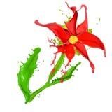 Abstracte die bloem van Gekleurde plonsen wordt gemaakt Stock Foto's