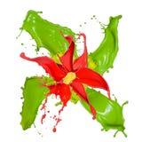 Abstracte die bloem van Gekleurde plonsen wordt gemaakt Royalty-vrije Stock Afbeeldingen
