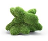 Abstracte die 3D vorm met gras wordt behandeld Royalty-vrije Stock Afbeelding