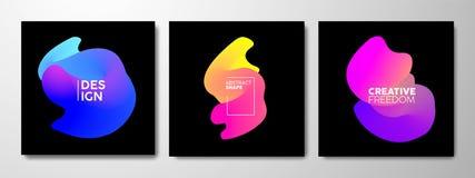 Abstracte die gradiëntvorm in heldere neonkleur wordt geplaatst royalty-vrije illustratie