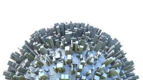 Abstracte die Hemisfeer van 3d Planeet door Eenvoudige de Stadsgebouwen van de Dooswolkenkrabber wordt behandeld royalty-vrije illustratie