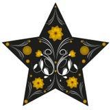 Abstracte die illustratie van een ster met bloemen wordt verfraaid Stock Afbeeldingen