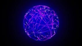 Abstracte die neonbal van lijnen wordt gemaakt stock illustratie