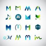 Abstracte die pictogrammen op de brief M worden gebaseerd stock illustratie