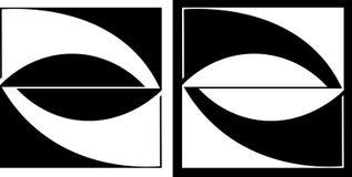 Abstracte die vierkant en cirkel en tegen een donker achtergrondontwerp bedrijfsembleem wordt geïsoleerd Royalty-vrije Stock Foto