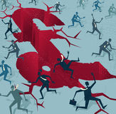 Abstracte die Zakenlieden van een Britse Financiële Ramp in werking worden gesteld royalty-vrije illustratie