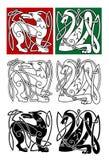 Abstracte dieren in in Keltische stijl Stock Afbeelding