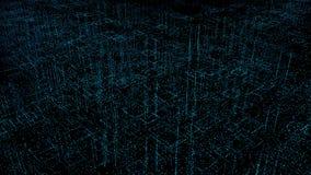 Abstracte digitale hologram 3D illustratie van stad met futuristische matrijs Digitale gebouwen met het netwerk van binaire coded stock illustratie