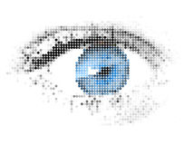 Abstracte digitale mens - - blauw oog Stock Foto
