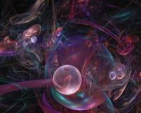 Abstracte digitale surreal fractal van de wervelingsmotie, magische fonkelingsvlam, de kaarttoekomst van de tendenspartij vector illustratie